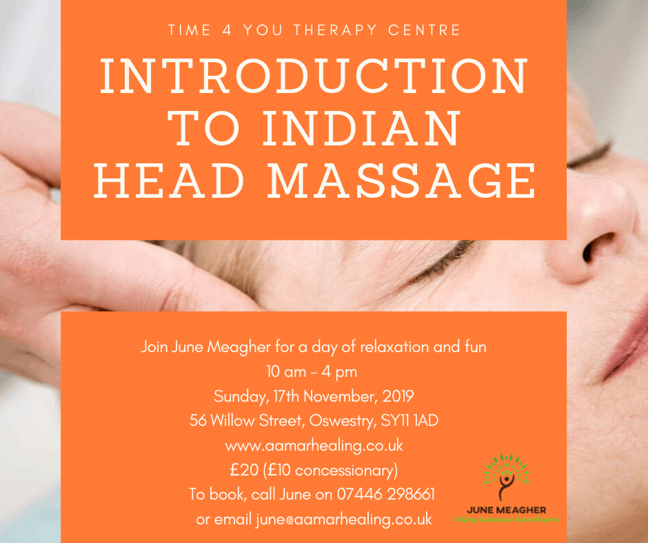 Introduction to Indian Head Massage with June Meagher in Oswestry